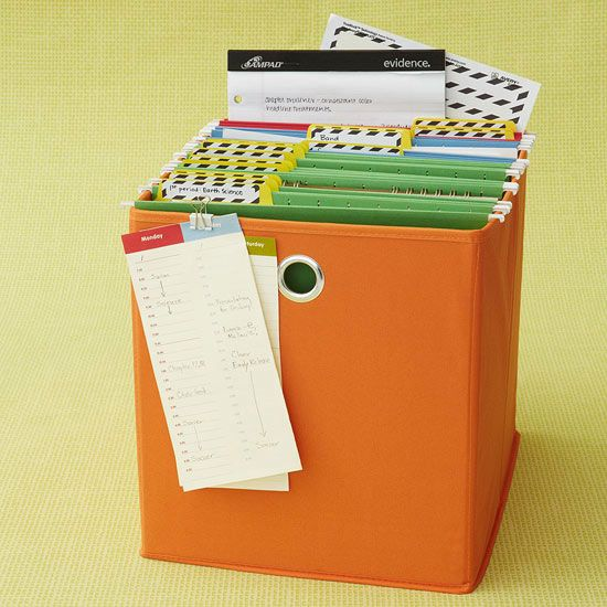 """Strategic Storage """"Make managing homework less of a hassle with a labeled file system that keeps important papers clutter-free. Basic organization tools -- such as color-coordinated folders, memo boards, and notepads -- can grow with your student's needs."""""""