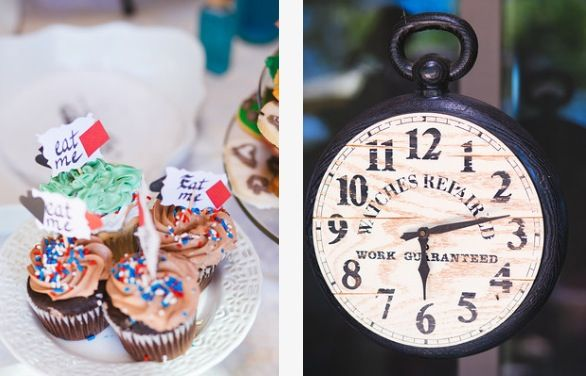 DIY victorian steampunk alice in wonderland outdoor DIY wedding dessert table