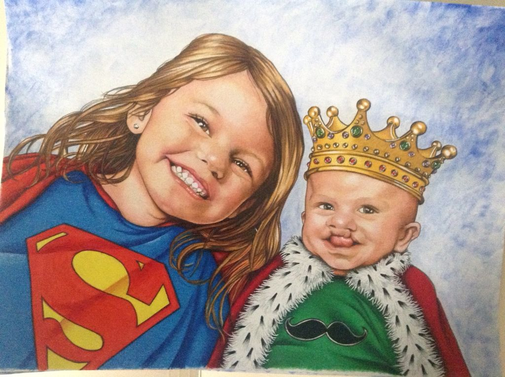 Prismacolor pencils with white ink pen highlights and watercolor background.