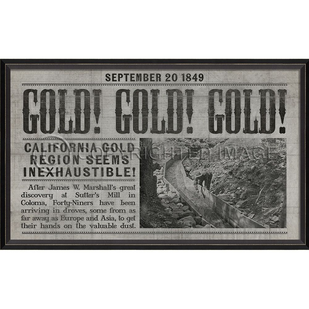California Gold Rush Framed Print Gray Wall Art California Gold Rush California Gold Grey Wall Art
