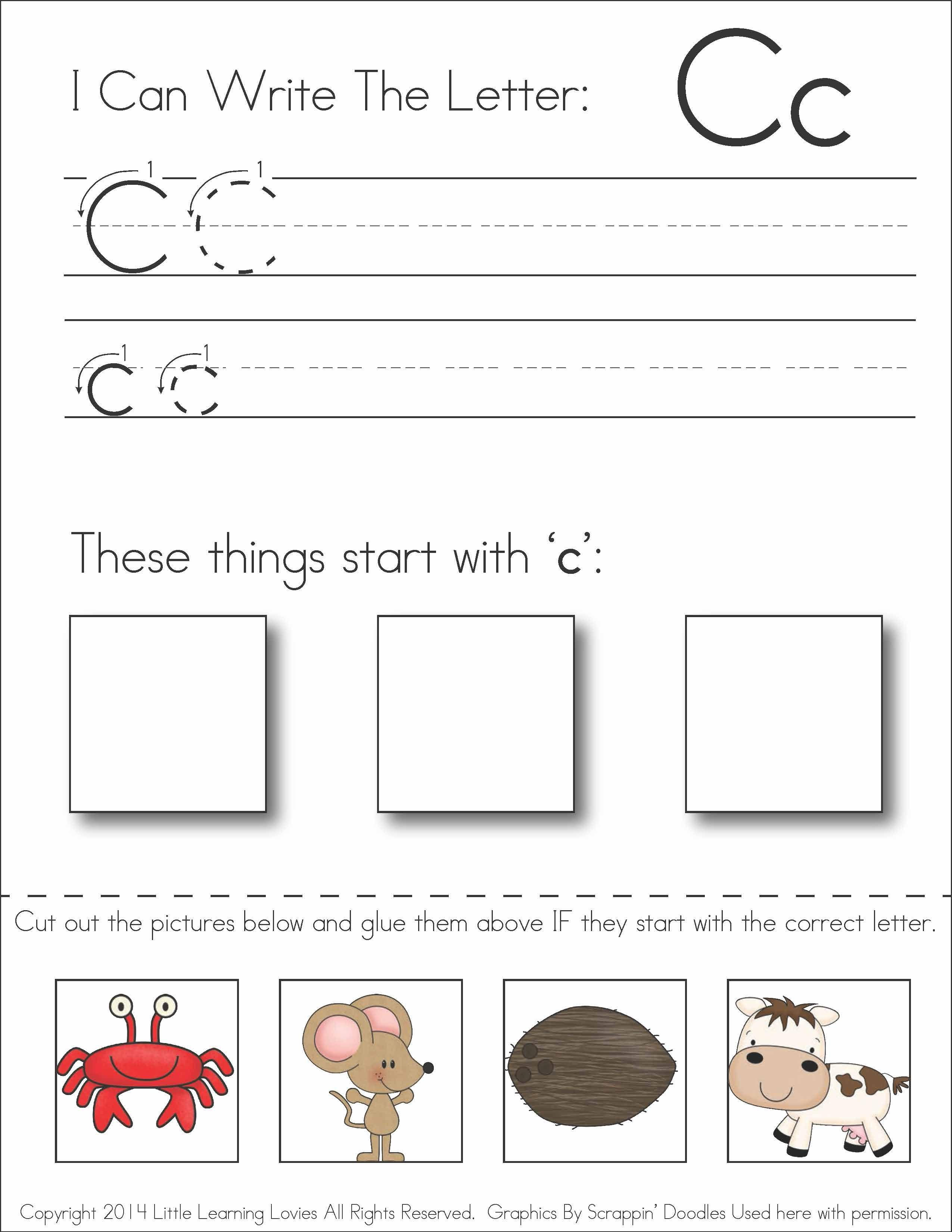 worksheet Cut And Paste Beginning Sounds Worksheets subscriber exclusive freebie letter c write cut paste fun free a worksheet has kids writing and practicing recognizing the sound at beginning of words also fine motor skil