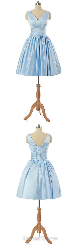V Neck Prom Dresses, Satin Formal Dresses, Light Sky Blue Evening Dresses, Short Homecoming Dresses, Cheap Graduation Dresses
