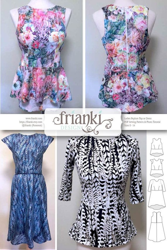 Women\'s Peplum Top & Dress - PDF Sewing Pattern and Photo Tutorial ...