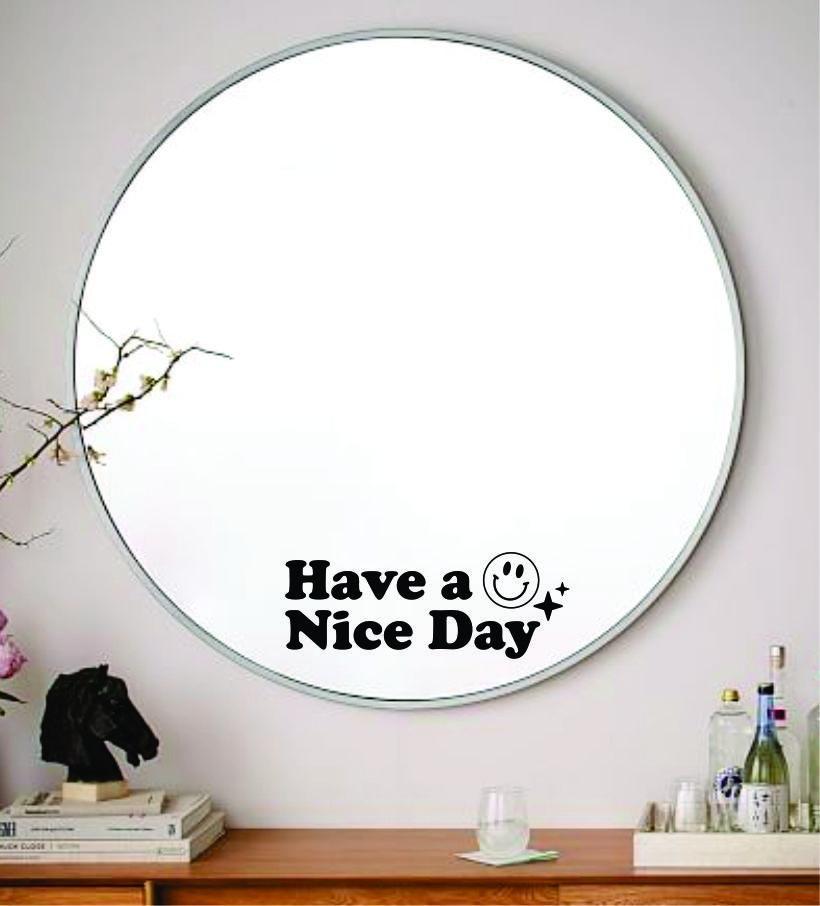 Have A Nice Day Smiley Face Wall Decal Sticker Vinyl Art Wall Bedroom Home Decor Inspirational Motivational Boy Girls Teen Mirror Beauty - gold