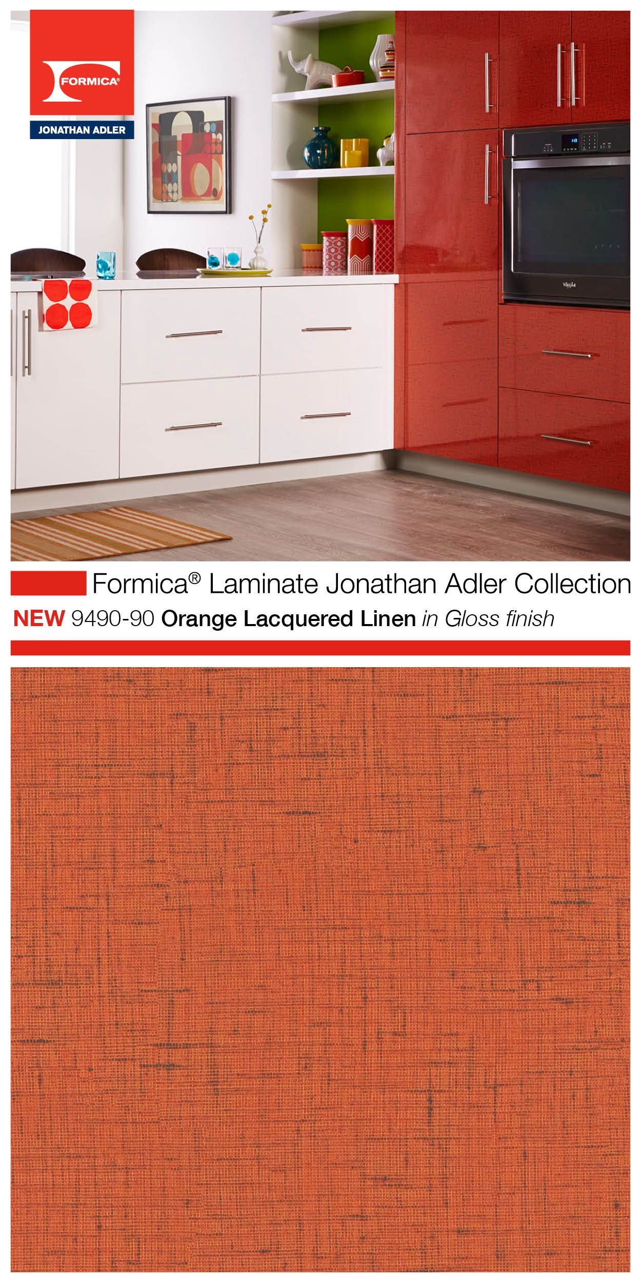 Part Of The Highly Aned Formica Laminate Jonathan Adler Collection 9490 90 Orange Lacquered Linen In Gloss Finish Is Versatile And Usable For Many