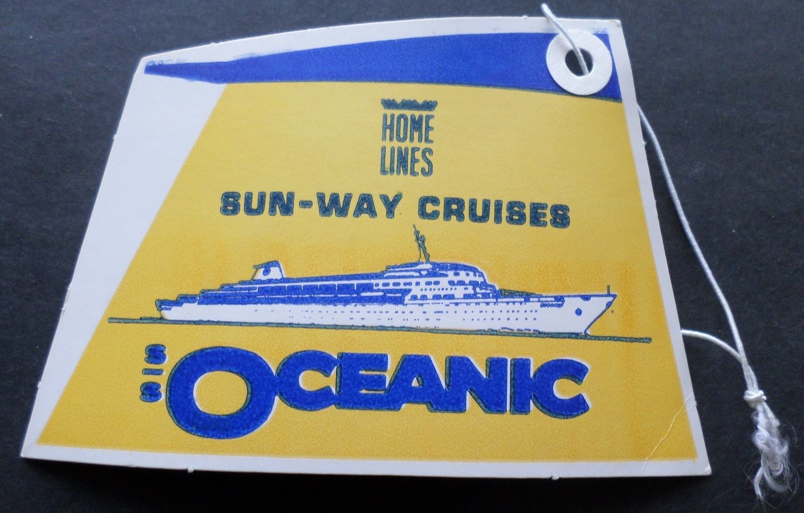 Ss Oceanic Home Lines Baggage Tag Cruise Ship Boat Funnel - Is there smoking on cruise ships