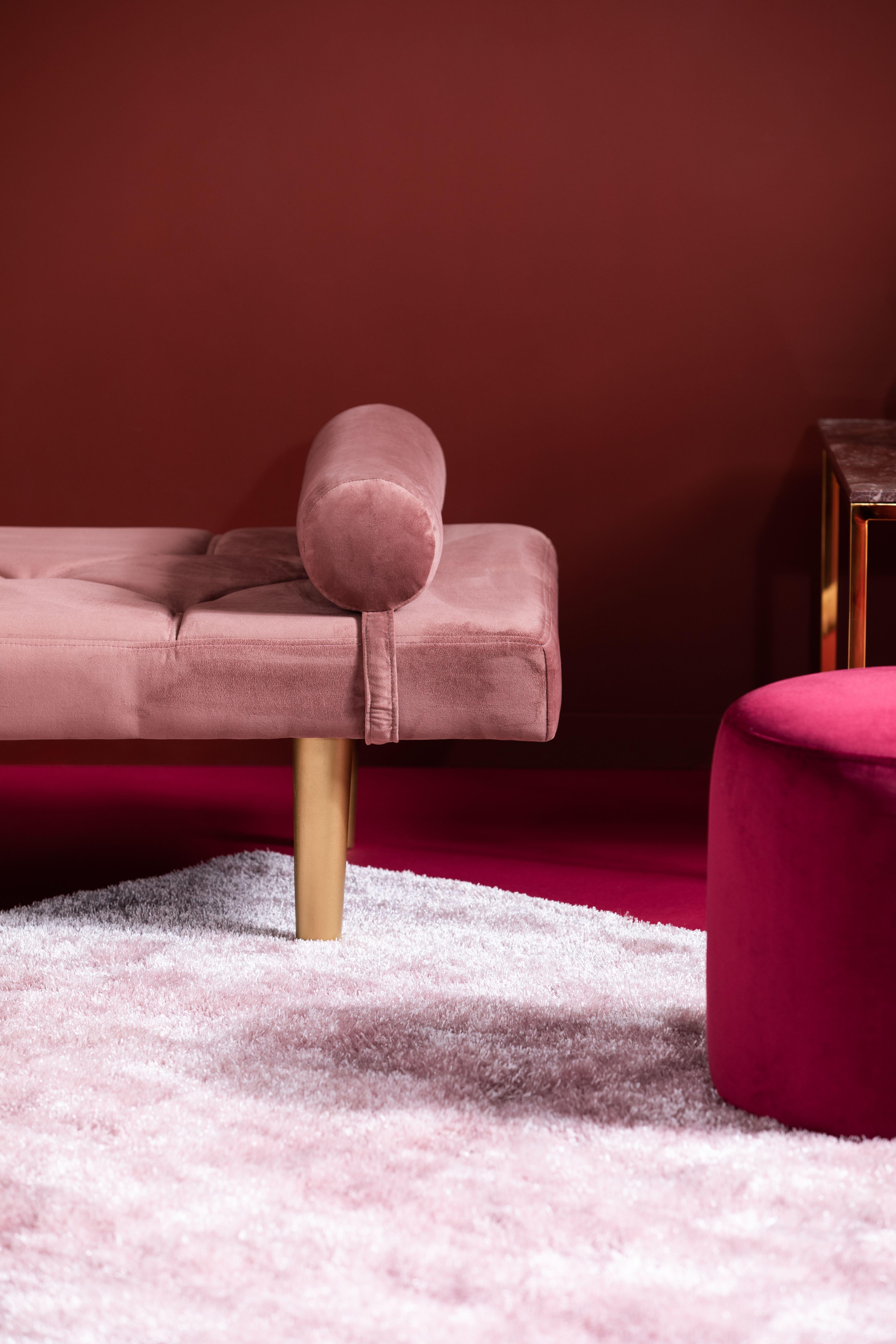Nya vardagsrum, sammet, dagbädd, nordiskt, avskalat, rosa, pink EW-48
