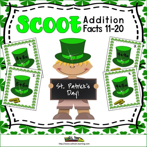 This St. Patrick's Day Math Scoot is a fun and exciting math game with St. Patrick's Day images on the cards.It gets all of your students moving. It can be used as a preview to see what your students already know, as a review or as an assessment after teaching addition facts to 11-20. This is a fun game to play for St.Patrick's Day.