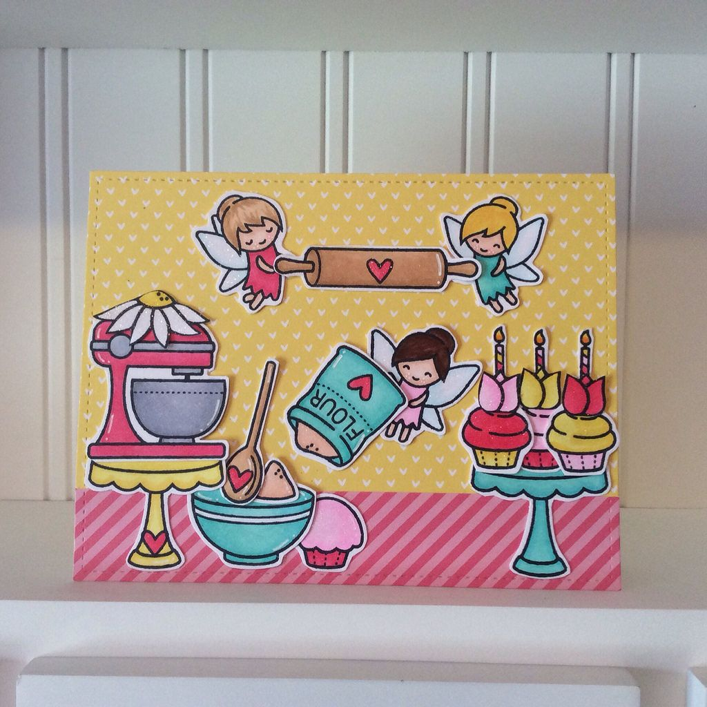 Card that I made using the Lawn Fawn 'Fairy Friends' and 'Baked with Love' stamp sets! Happy Birthday Lawn Fawn!!