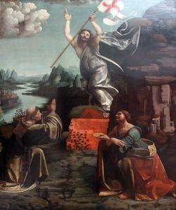 The Resurrection of Christ with Saint Leonard of Noblac and Lucia - Giovanni Antonio Boltraffio - 1492, Gemaldegalerie - Berlin, Germany