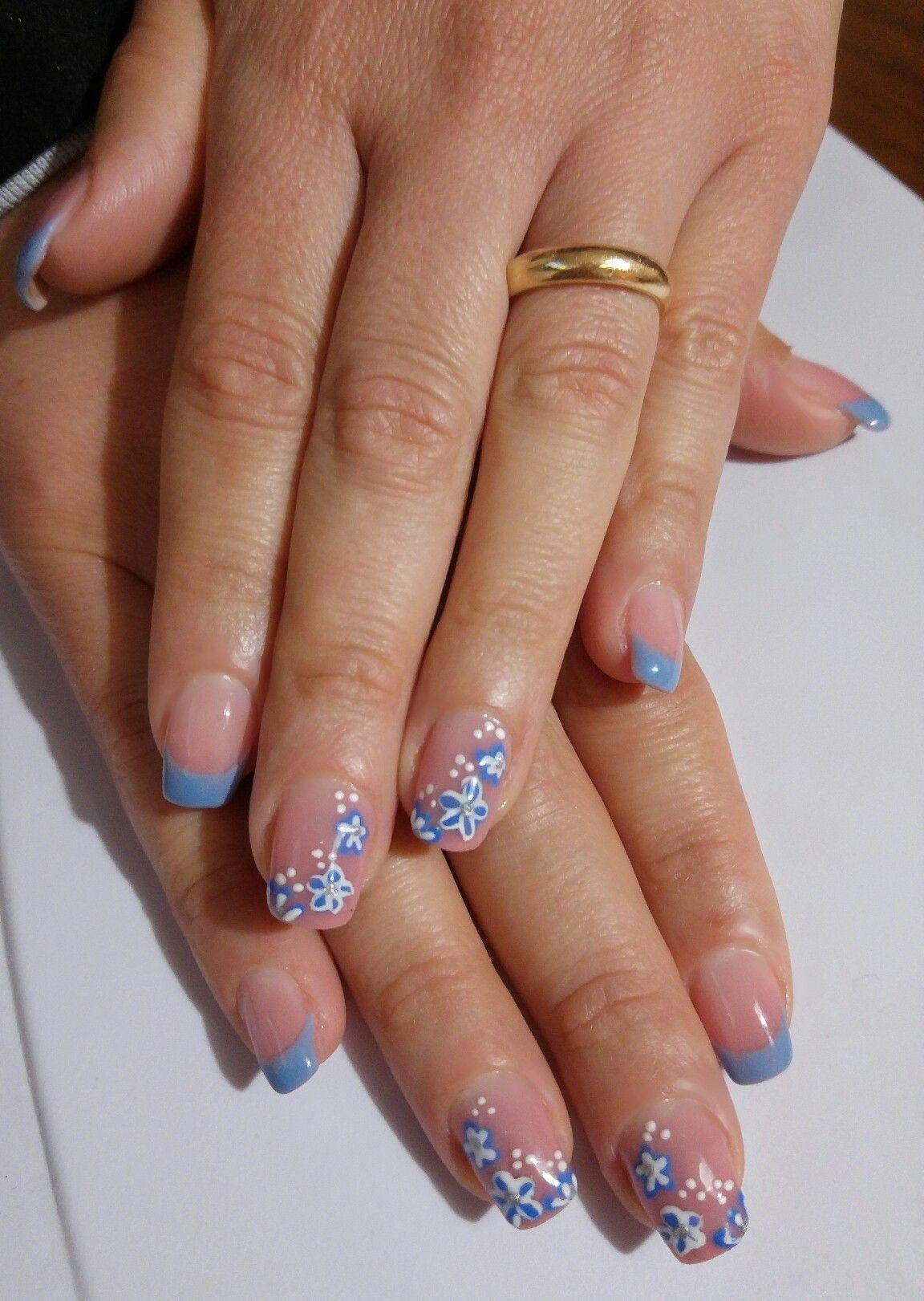 French Azzurro (serenity) fiori | Unghie rosa, Unghie ...
