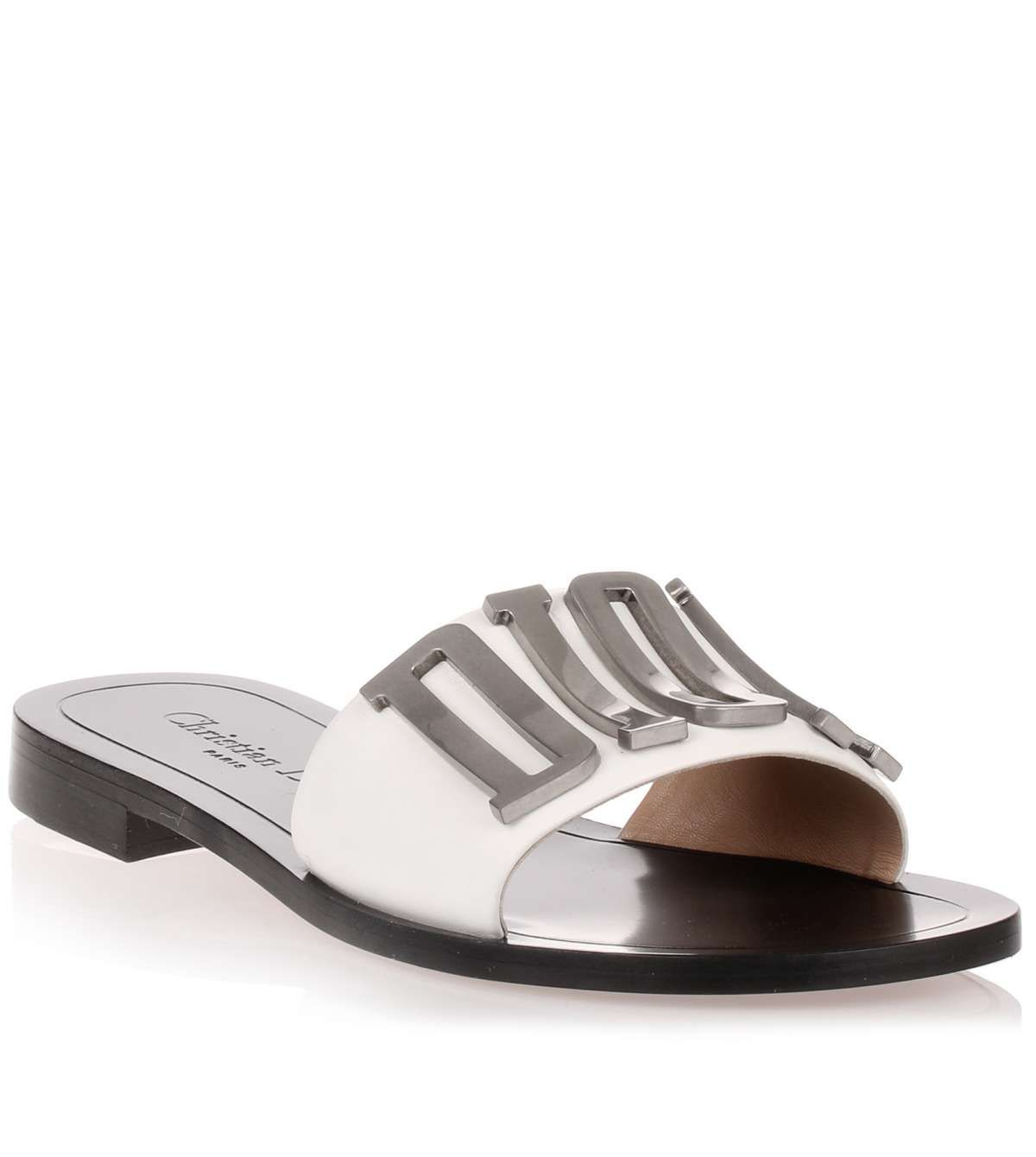 Diorevolution white leather slide from