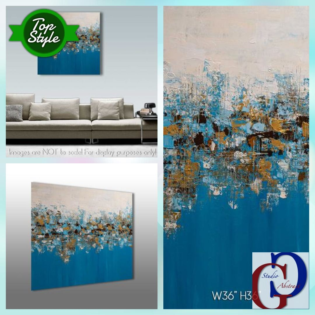 Abstract Acrylic Square Palette Knife Painting On Canvas, Impasto Teal Gold Wall Art 36