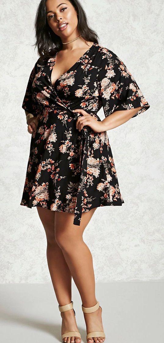 ef2c795b6a6b Plus Size Floral Wrap Dress