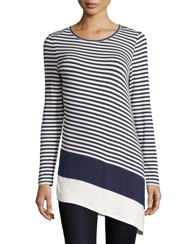 Neiman Marcus Striped Asymmetric-Hem Tunic, Ivory/Navy