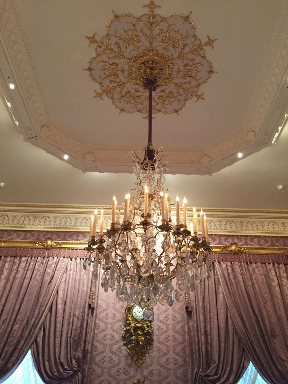 A pink room in the wallace collection london crystal chandelier a pink room in the wallace collection london crystal chandelier arubaitofo Image collections