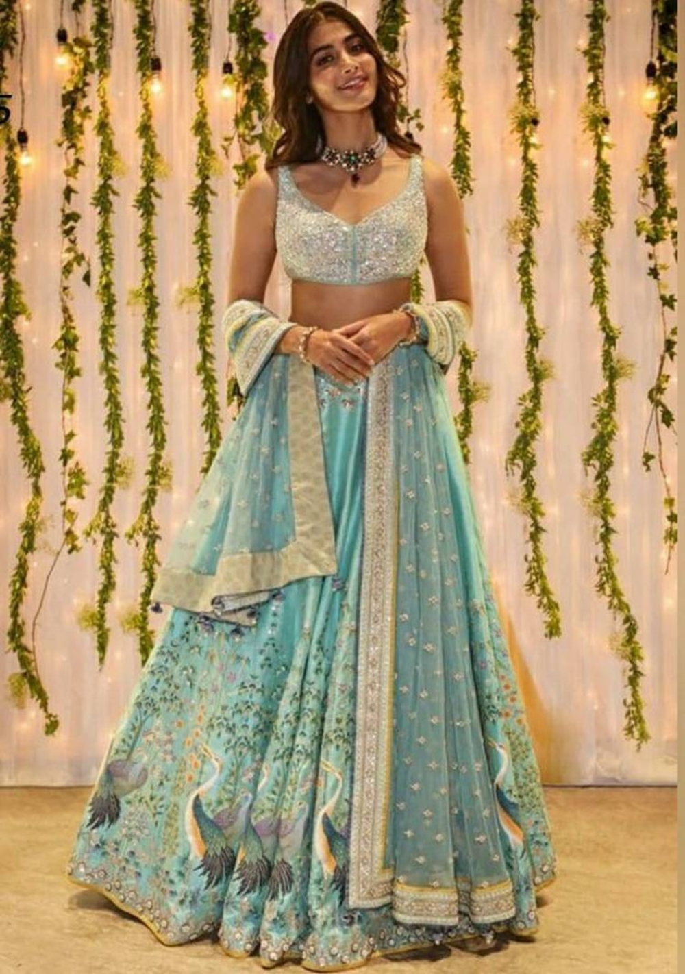 Light blue embroidered lehenga choli, silk crop to