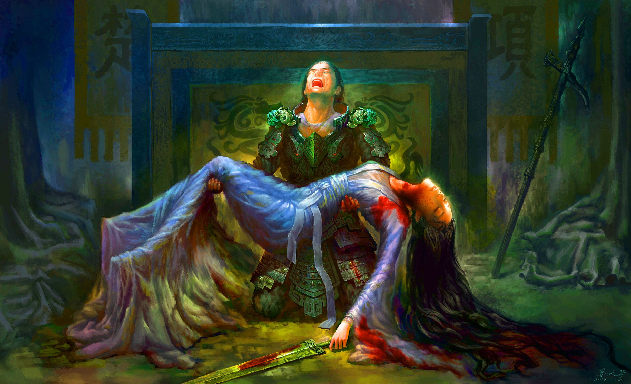 General Xiang-Yu mourning the death of his mistress during the Chu-Han Contention
