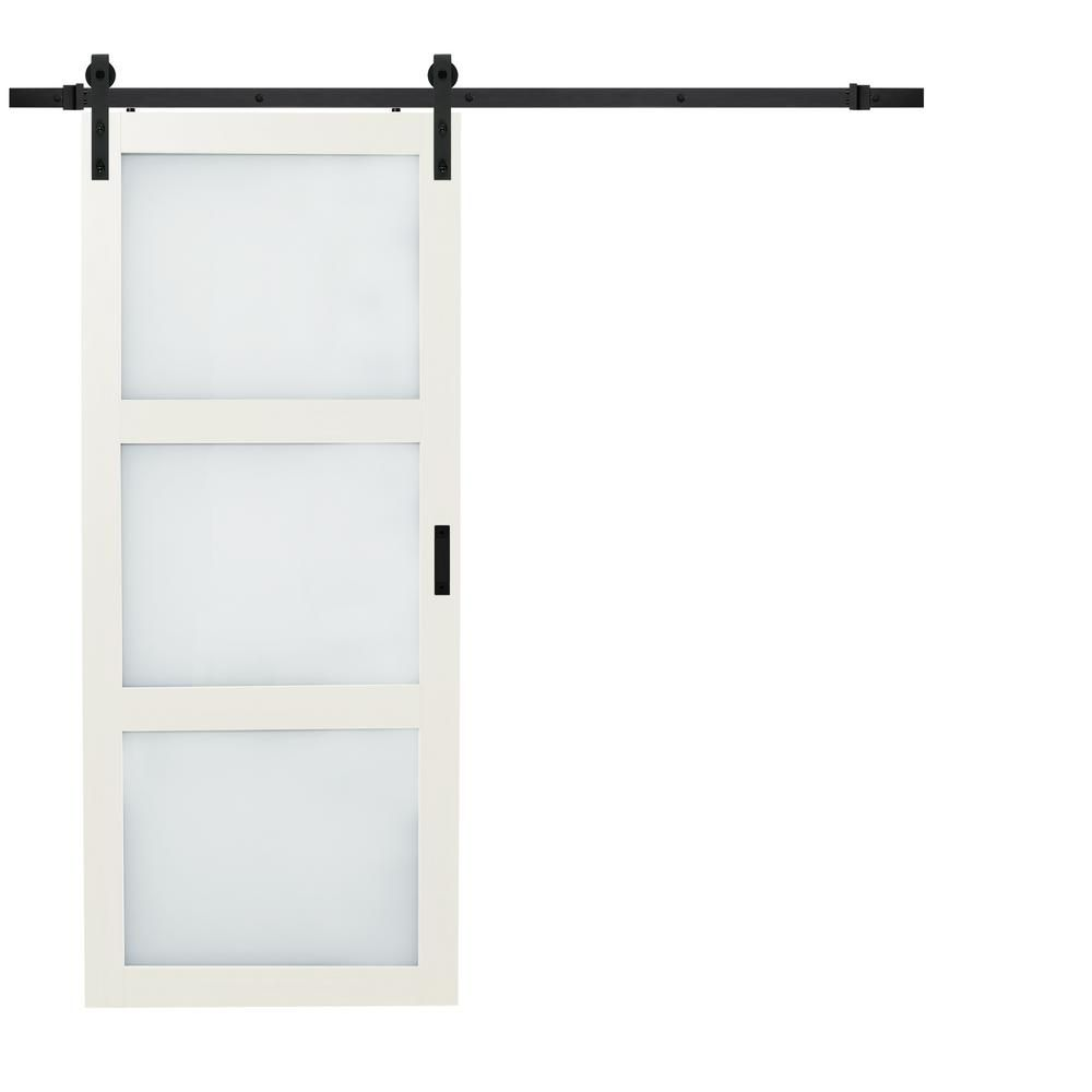 Truporte 36 In X 84 In Bright White Solid Core Rustic 3 Lite Frost Sliding Barn Door With Composite Hardware Kit Es61 W1 Bw 3tg Interior Sliding Barn Doors Sliding Door Hardware Hanging Barn Doors
