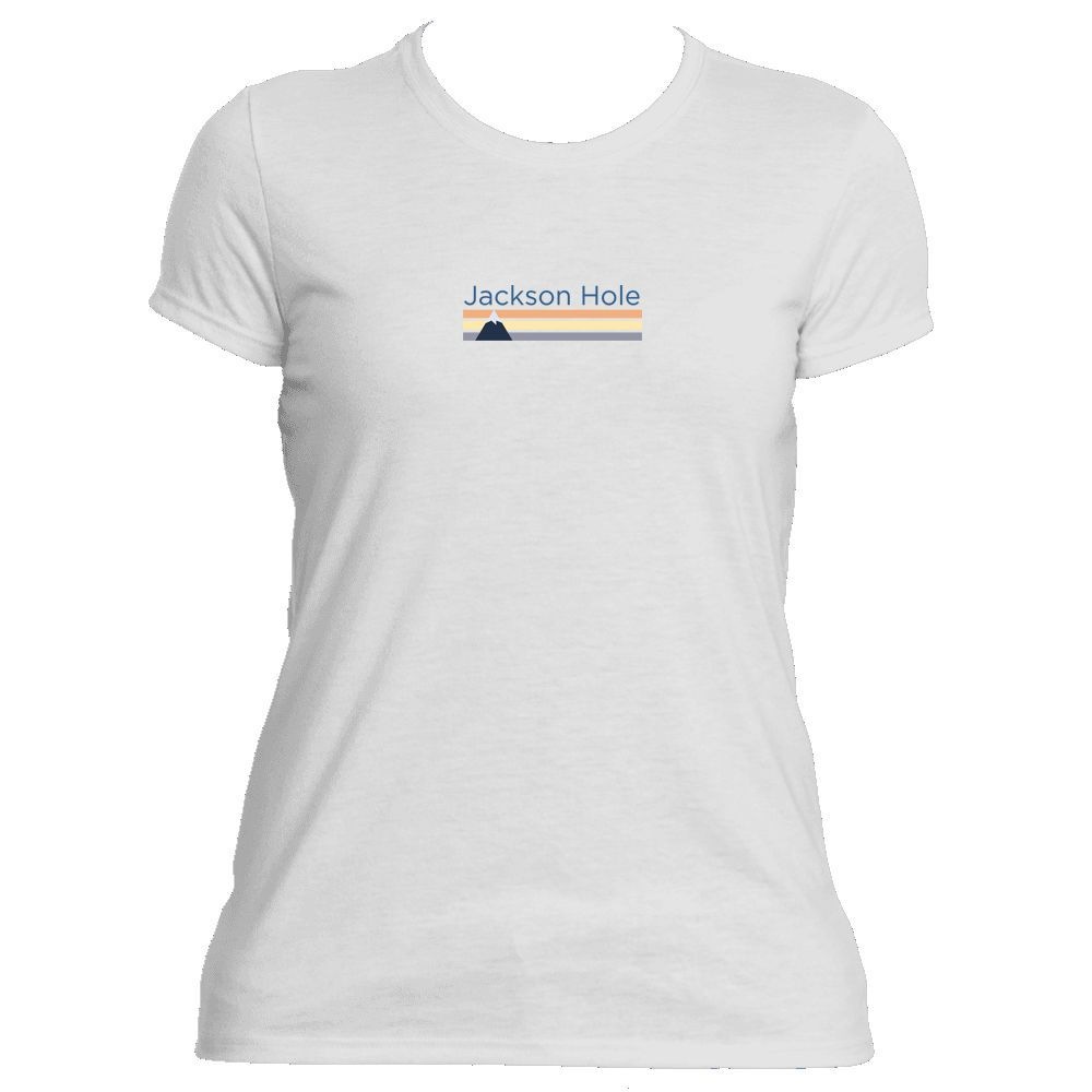 ecf36252 Jackson Hole, Wyoming Retro Mountain Women's Athletic/Performance T-Shirt  is great if you live in the mountains or just visit. It's also a great gift  for ...