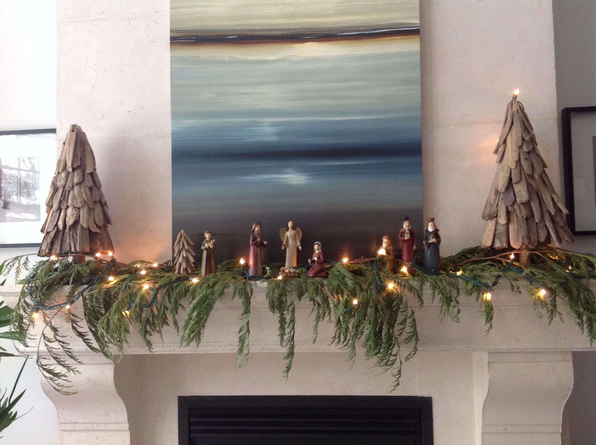 Fireplace Mantel Nativity Scene Christmas Decorations Christmas Nativity Holiday Decor