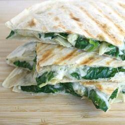 Spinach Artichoke Feta Quesadillas.