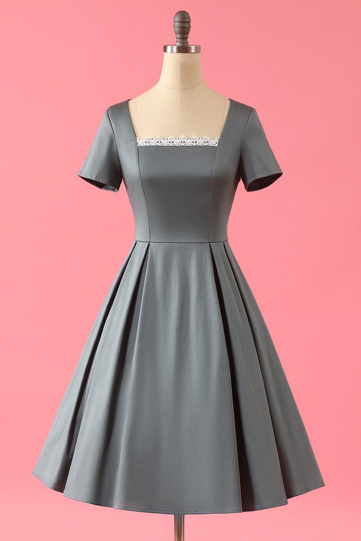1950s Square Neck Swing Dress Vintage Dresses Dresses Swing Dress [ 1500 x 1000 Pixel ]