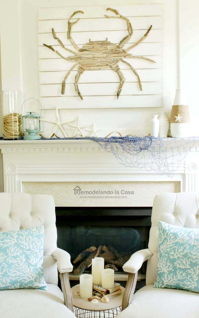 Summer Mantel With Driftwood Crab Art In 2019 Favorite