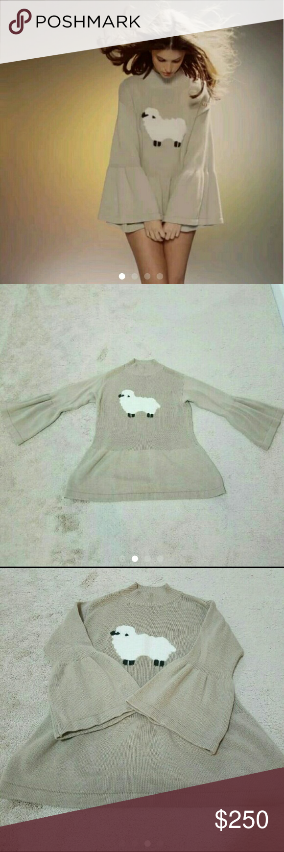 WILDFOX furry sheep sweater NWOT (dry cleaned) Size: S (runs big) Wildfox white label sheep sweater very rare htf. Features bell sleeves and peplum bottom. Super cute. Wildfox Sweaters Cowl & Turtlenecks