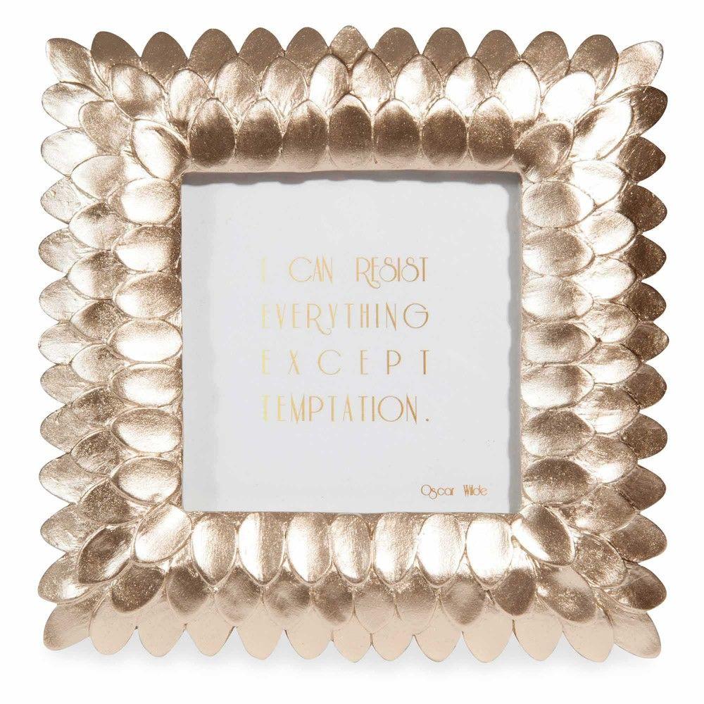 Cadre photo doré 17x18cm PLUME | Maisons du Monde | mariage coco ...