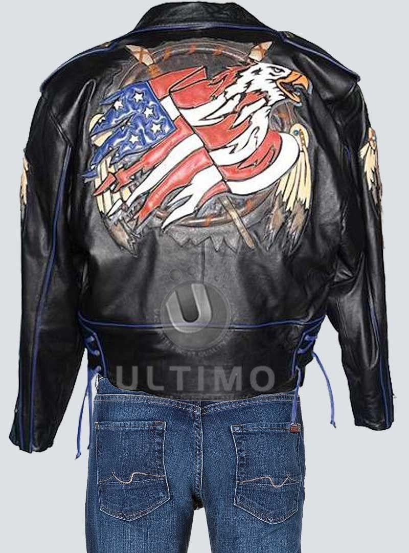 Flag Leather Jacket Design On Back Jacket Design Leather Jacket Jackets [ 1081 x 800 Pixel ]