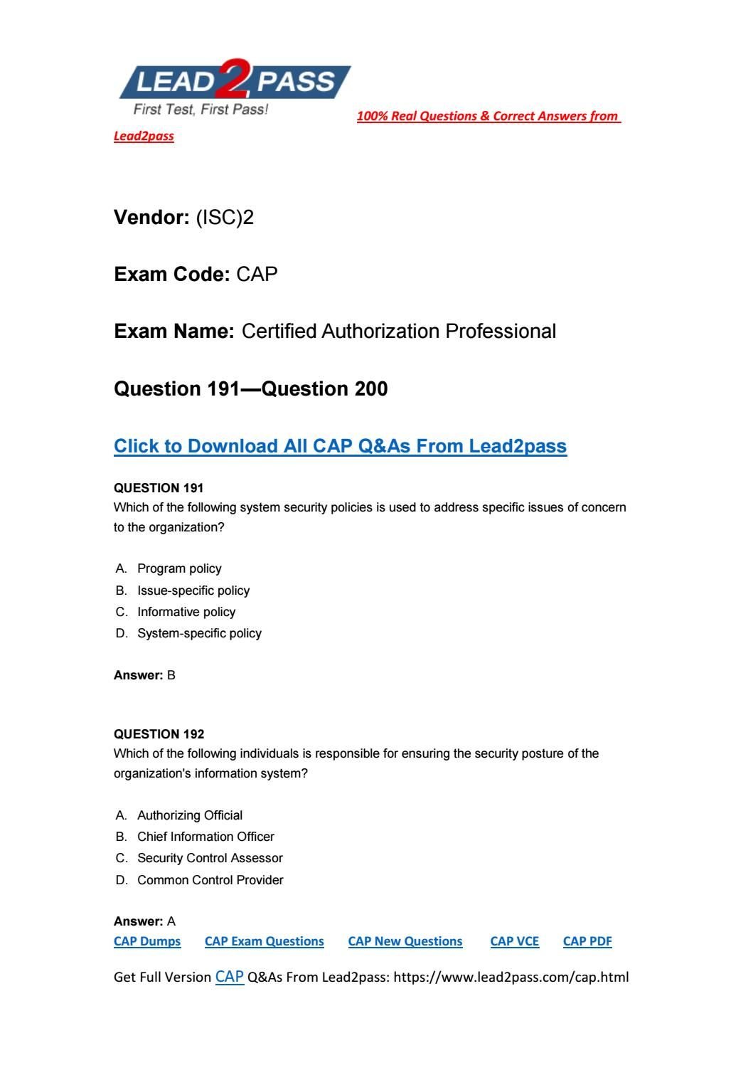 Lead2pass New Released CAP Exam Questions From (ISC)2 Exam
