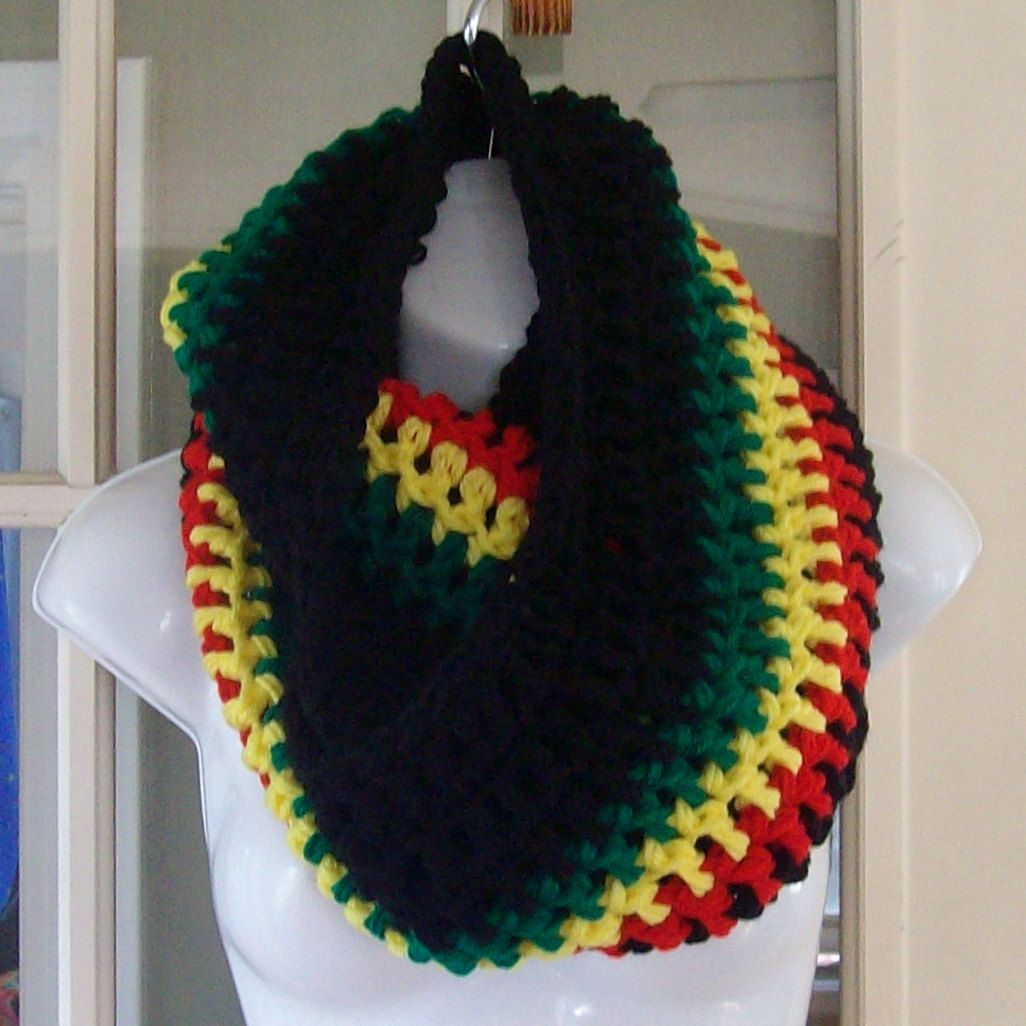 Rasta flag infinity cowl scarf neckwarmer. $24.00, via Etsy.