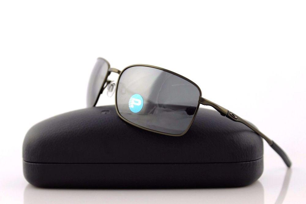 bead7d8223 POLARIZED RARE New OAKLEY TITANIUM Square Wire Pewter Sunglasses OO 6016 02