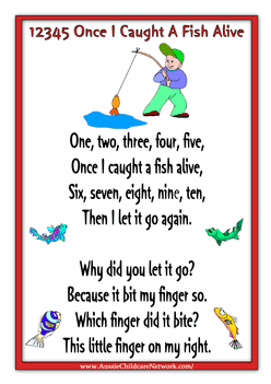 12345 once i caught a fish alive lots of printable posters for Fish songs for preschoolers