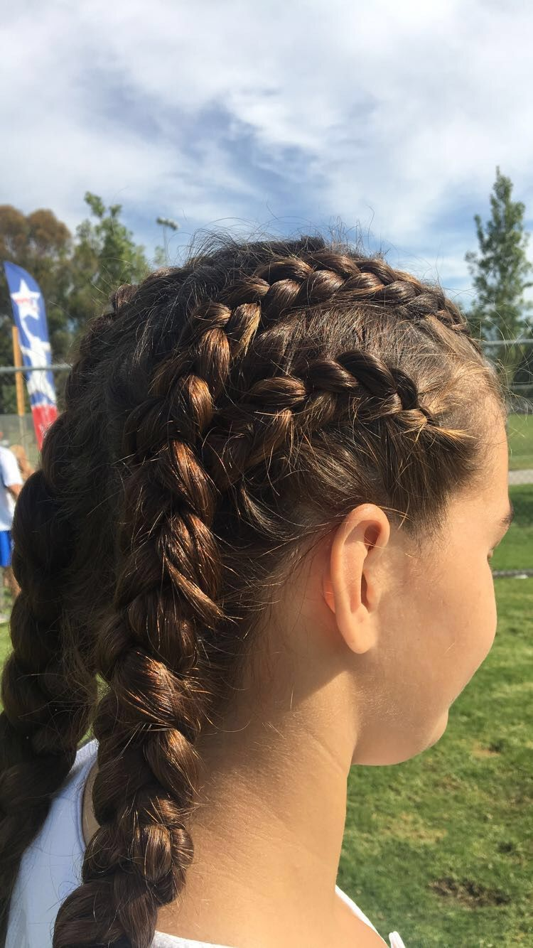 Athletic Braids Softball Braids Sports Hairstyle Sports Hairstyles Hair Styles Softball Hairstyles