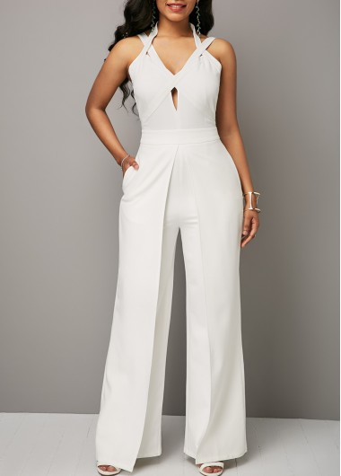 467a39f0051 Halter Solid White Open Back Jumpsuit on sale only US 36.63 now
