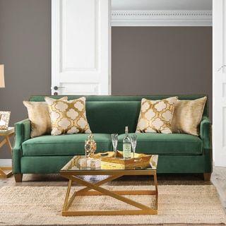 Katrina Contemporary Nailhead Microfiber Emerald Green Sofa By Furniture Of  America | Overstock.com Shopping   The Best Deals On Sofas U0026 Loveseats