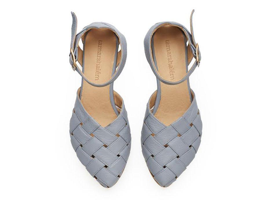 Sophie, light blue Leather handmade  Sandals