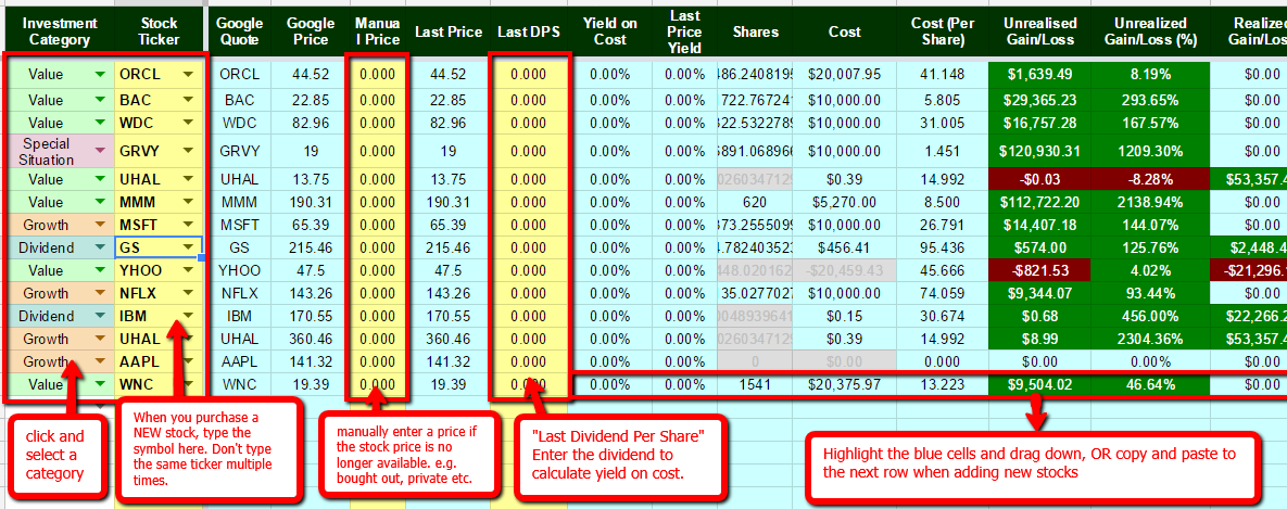 The Best Free Stock Portfolio Tracking Spreadsheet #stockportfolio