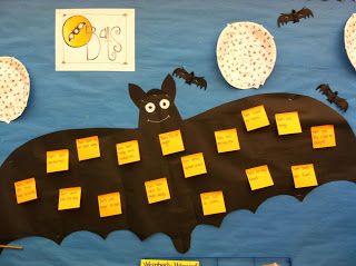 Mural de morcegos para reflictir os medos dos pequenos