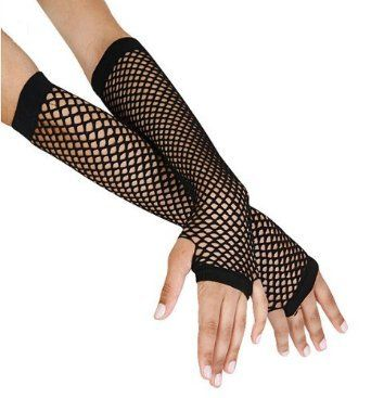 80s RAVE BLACK FISHNET GLOVES Womens Ladies Fancy Dress Costume Accessory
