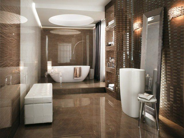 brown bathroom tile ideas different textures glossy floor tiles - carrelage marron salle de bain
