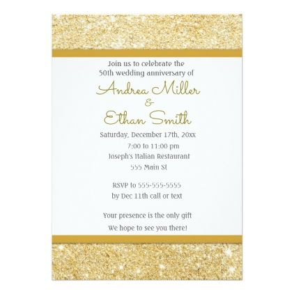 Glitter Gold 50th Wedding Anniversary Invitation 50th wedding - anniversary invitation