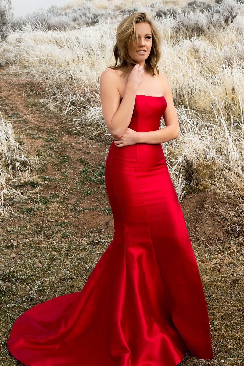 Simple strapless mermaid red long evening dress prom slay