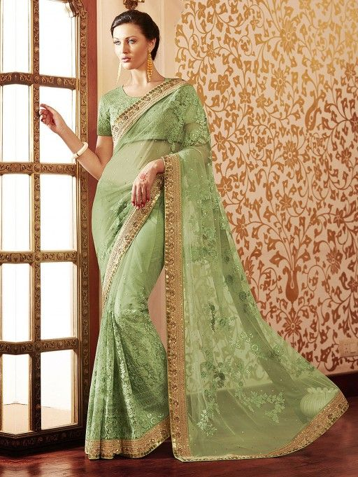 c598da0c4539fb Light Green Net Saree with Zari Work | Indian Sarees & Sari ...