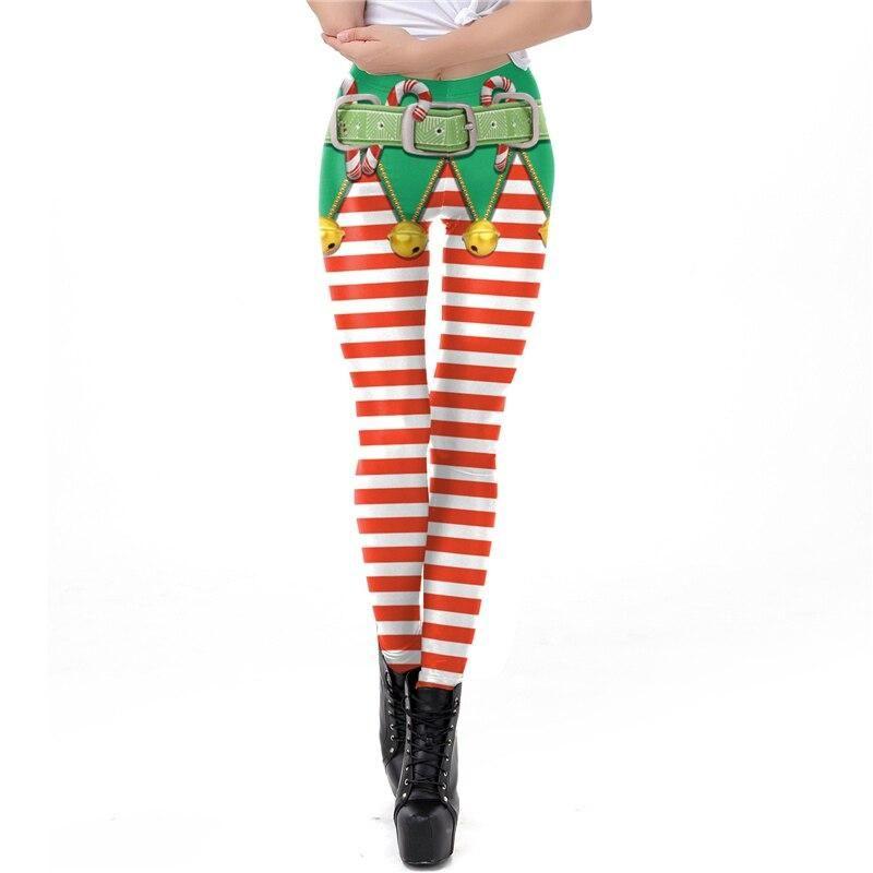 Multicolor Stripe Fashion Nine Pants Leggings Cosplay Halloween Women's Trousers Performance Costum