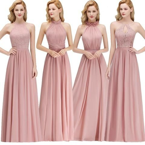 Dusty Pink Halter Bridesmaid Dress RI