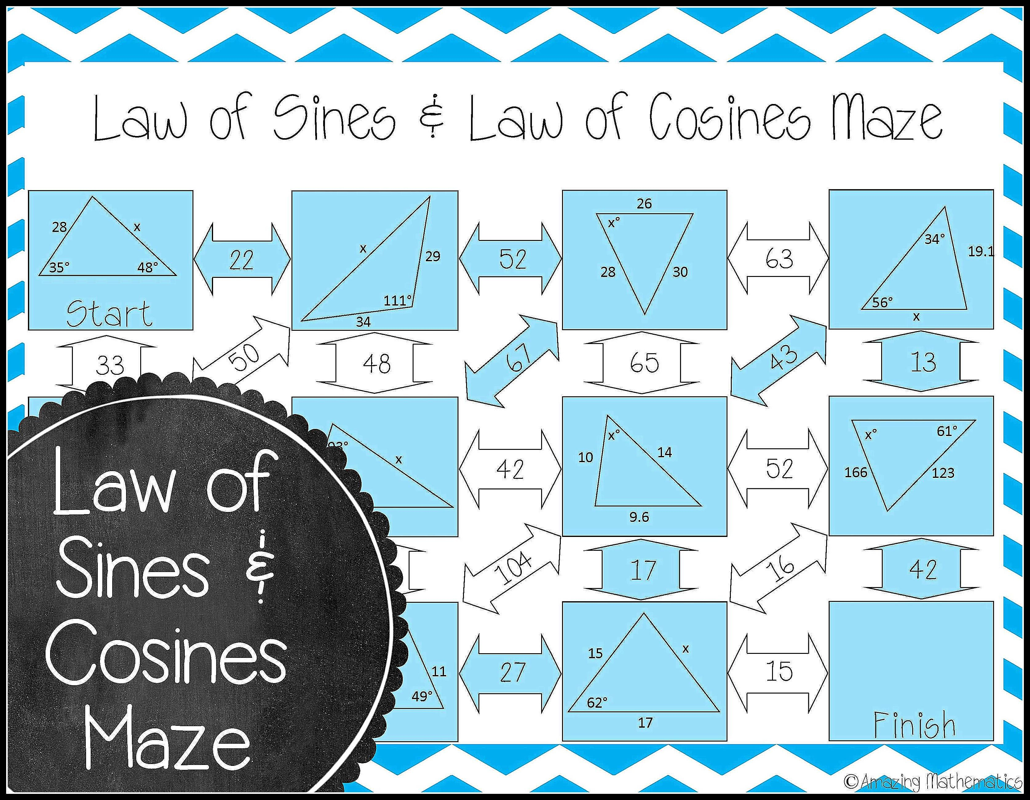 Law Of Sines And Law Of Cosines Maze Worksheet Law Of Cosines Law Of Sines Teach Math High School