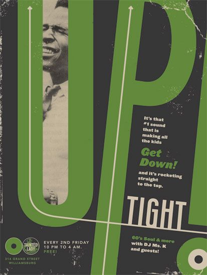 Totally French! Design Club Uptight gig poster. Strong typography. #type #poster #wow